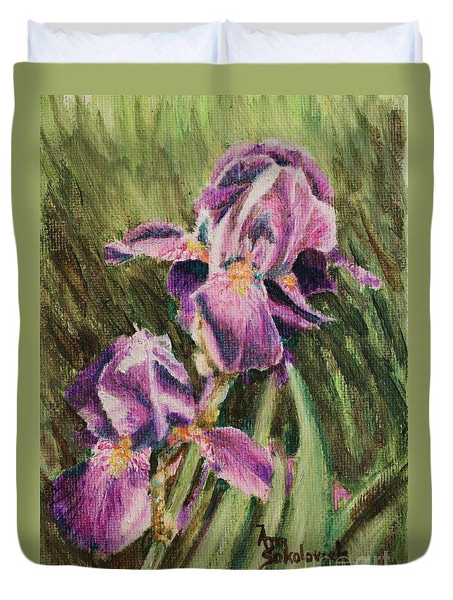 Iris Duvet Cover featuring the painting Iris Twins by Ann Sokolovich