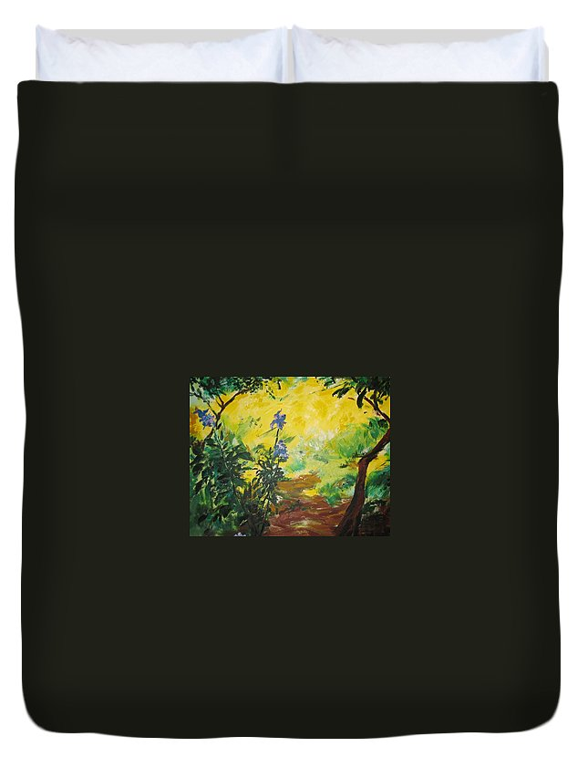 Sunlight Duvet Cover featuring the painting Irises And Sunlight by Lizzy Forrester