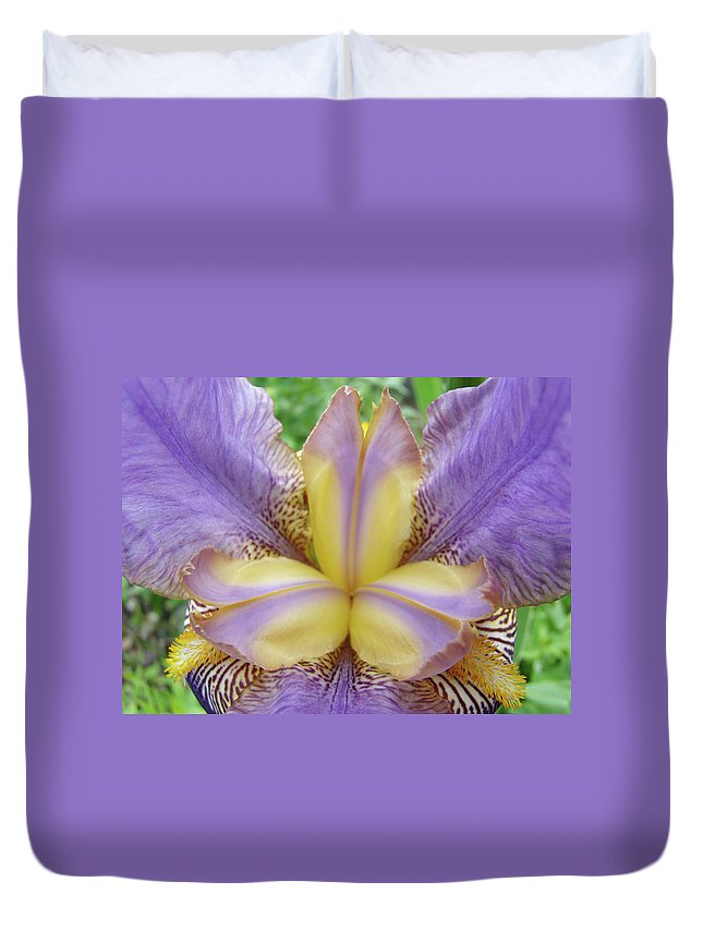 Iris Duvet Cover featuring the photograph Irises Art Purple Yellow Iris Flowers Giclee Prints Baslee Troutman by Baslee Troutman