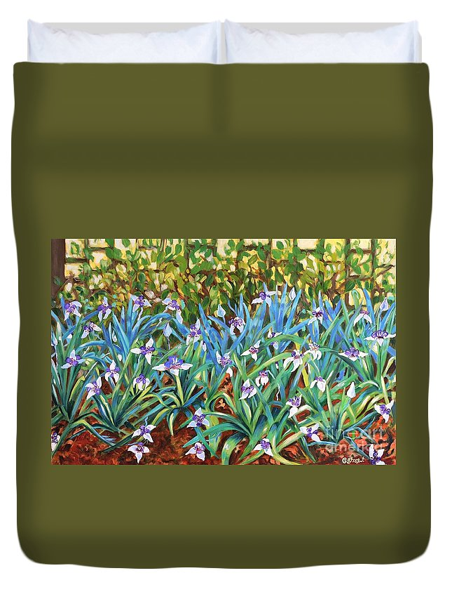 Flowers Duvet Cover featuring the painting Irises by Caroline Street