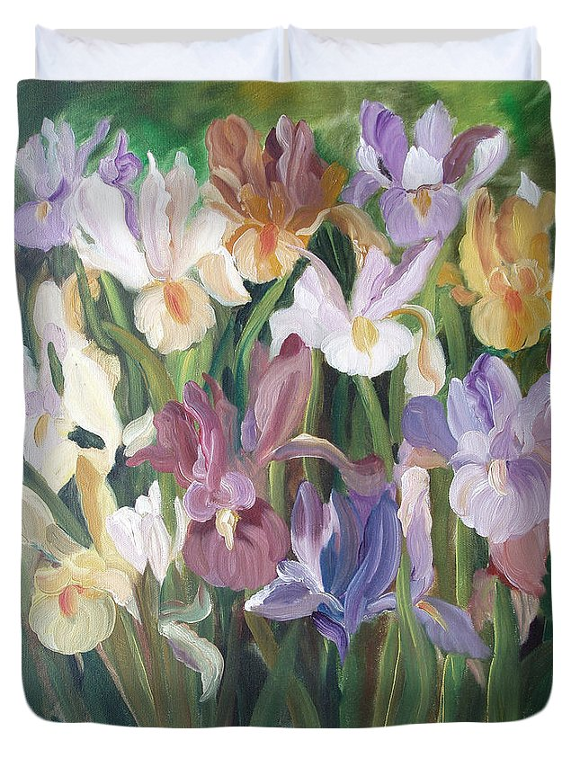 Irises Duvet Cover featuring the painting Irises by Gina De Gorna