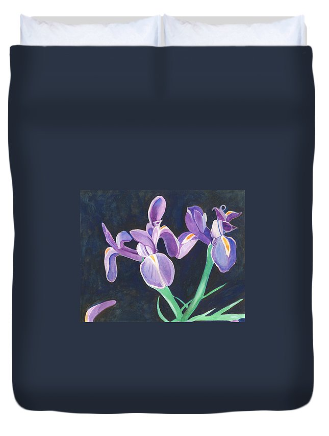 Iris Duvet Cover featuring the painting Irises by Helena Tiainen