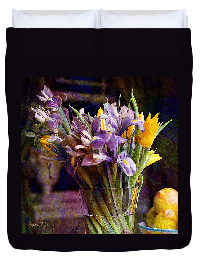 Purple Duvet Cover featuring the digital art Irises In A Glass by Barbara Berney