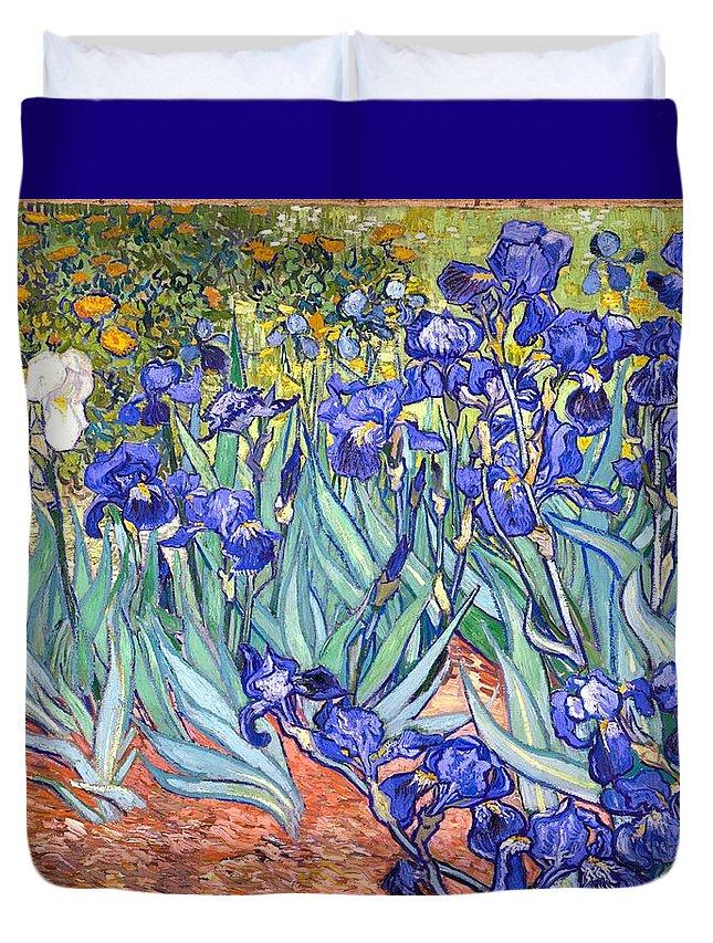 Van Gogh Duvet Cover featuring the painting Irises by Van Gogh