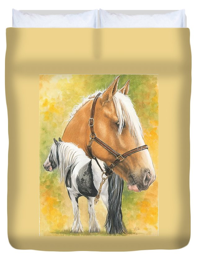Draft Horse Duvet Cover featuring the mixed media Irish Cob by Barbara Keith