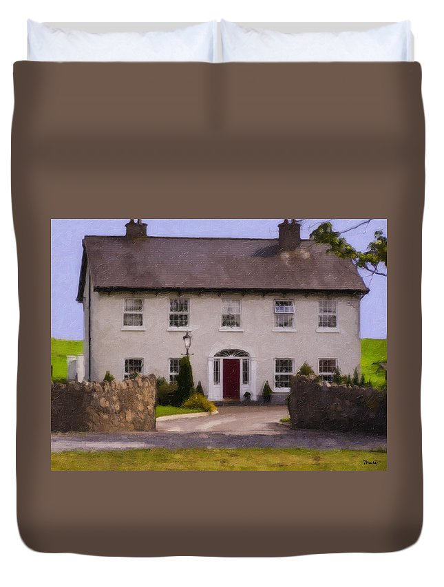Ireland Duvet Cover featuring the painting Irish Country Estate Riverstown Ireland by Teresa Mucha