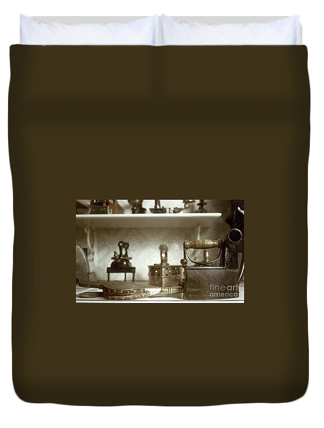 -domestic- Duvet Cover featuring the photograph Iron, 19th Century by Granger