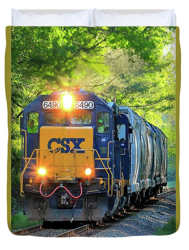 Reid Callaway Train And Track Duvet Cover featuring the photograph Iron Age Engineers Csx Locomotive Art by Reid Callaway