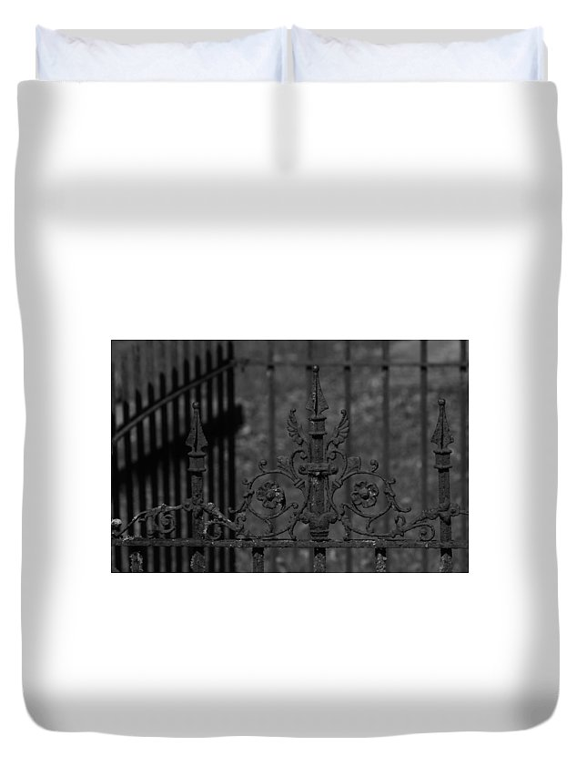 Black And White Photo Duvet Cover featuring the photograph Iron Fence Gate by Kathy Kirkland