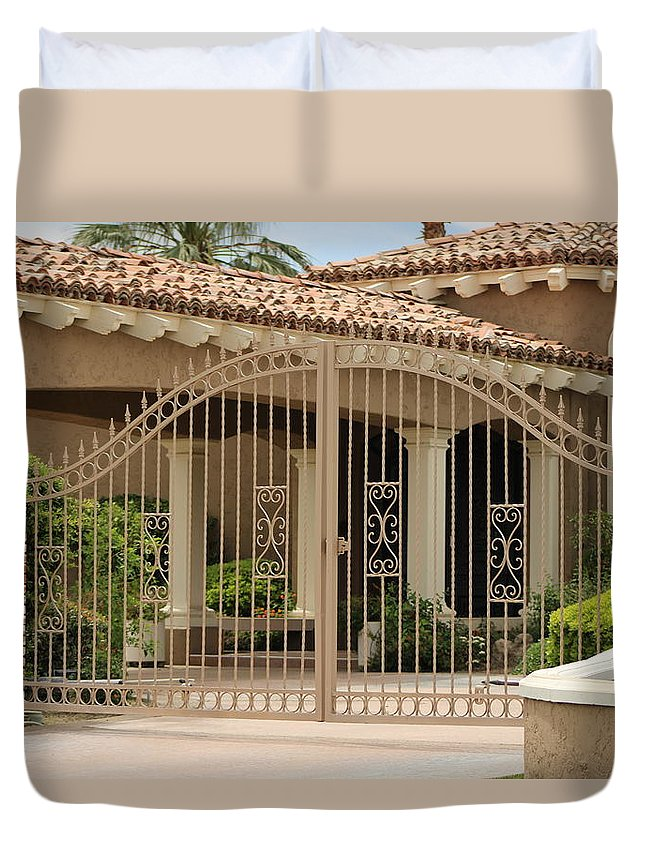 Iron Gate Duvet Cover featuring the photograph Iron Gate in Front of Desert Home by Colleen Cornelius