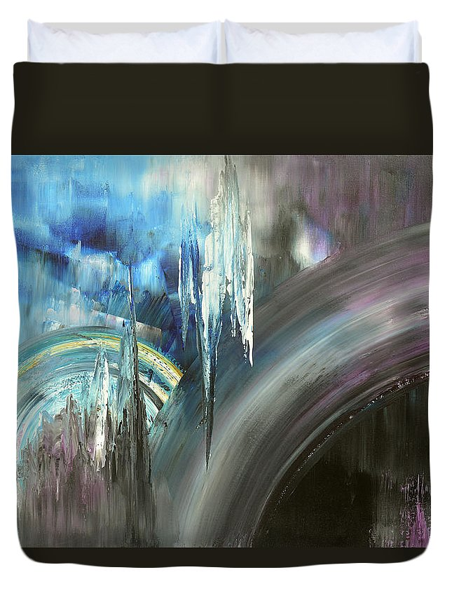 Abstract Duvet Cover featuring the painting Irresistible Impulses by Tatiana Iliina