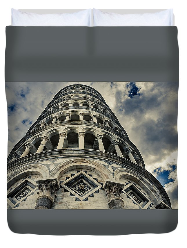 Pisa Duvet Cover featuring the photograph Is It Oblique? by Peter Mojzes