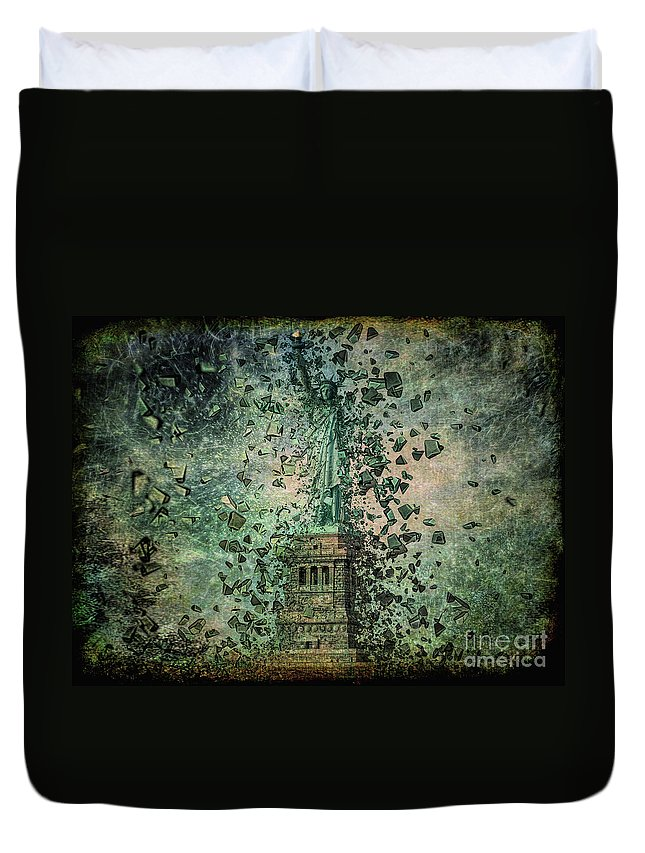 Statue Duvet Cover featuring the mixed media Is Liberty In Danger? by Edelberto Cabrera