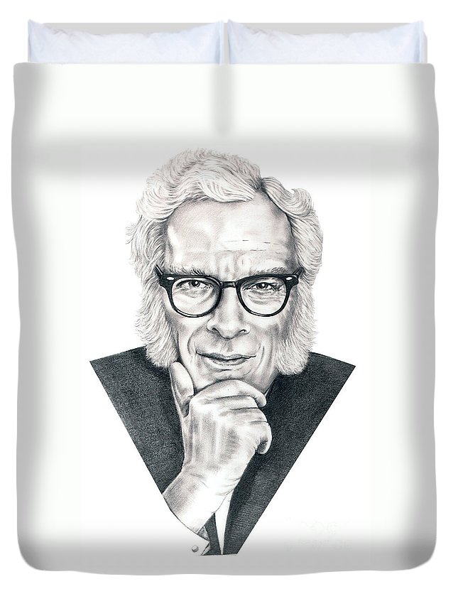 Portrait Duvet Cover featuring the drawing Isaac Asimov by Murphy Elliott