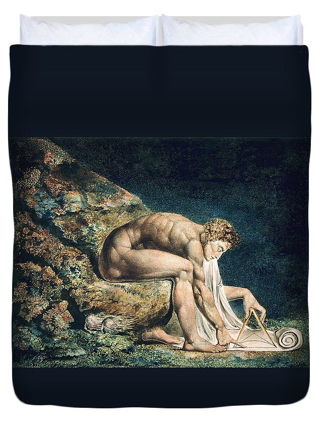 William Blake Duvet Cover featuring the drawing Isaac Newton by William Blake