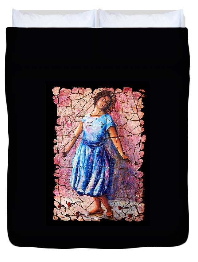 Isadora Duncan Duvet Cover featuring the painting Isadora Duncan - 2 by OLena Art Brand