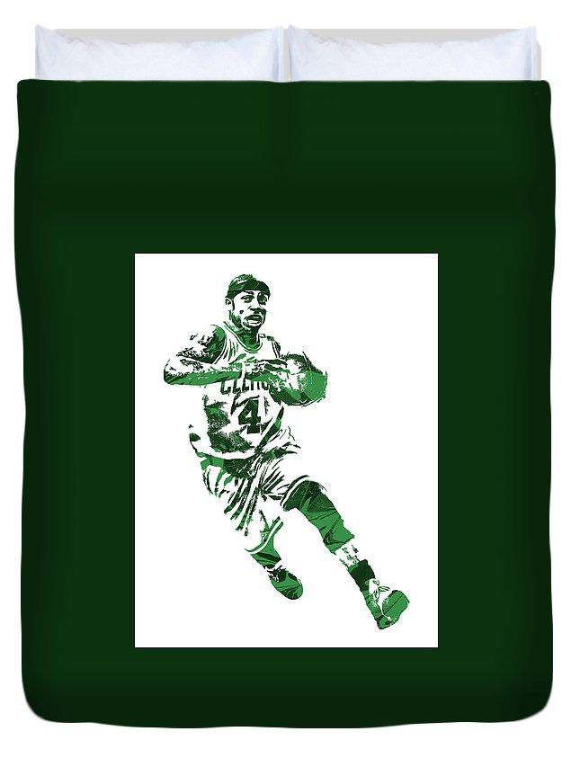Isaiah Thomas Duvet Cover featuring the mixed media Isaiah Thomas Boston Celtics Pixel Art 5 by Joe Hamilton