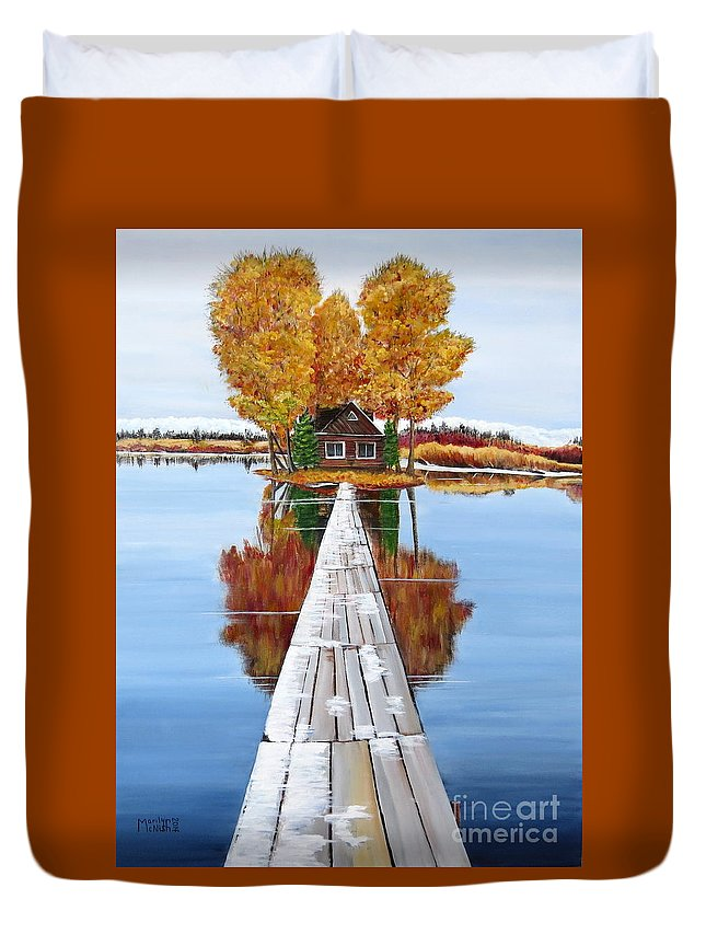 Remote Island Cabin Duvet Cover featuring the painting Island Cabin 2 by Marilyn McNish