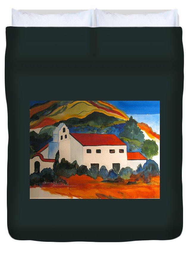 Church Duvet Cover featuring the painting Island Church by Donna Steward