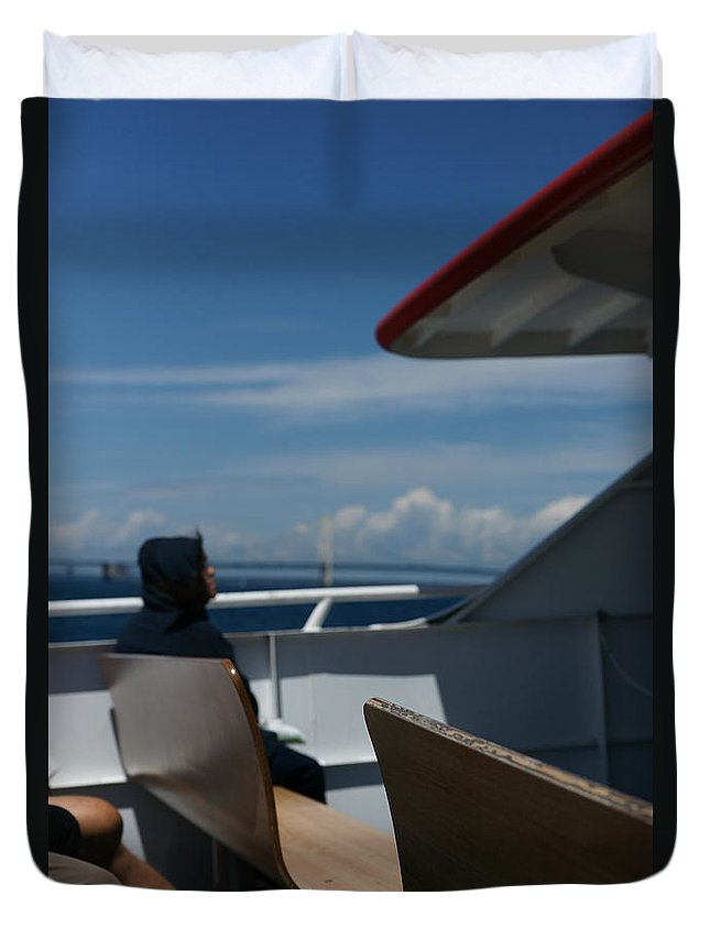 Boat Duvet Cover featuring the photograph Island Commute by Linda Shafer