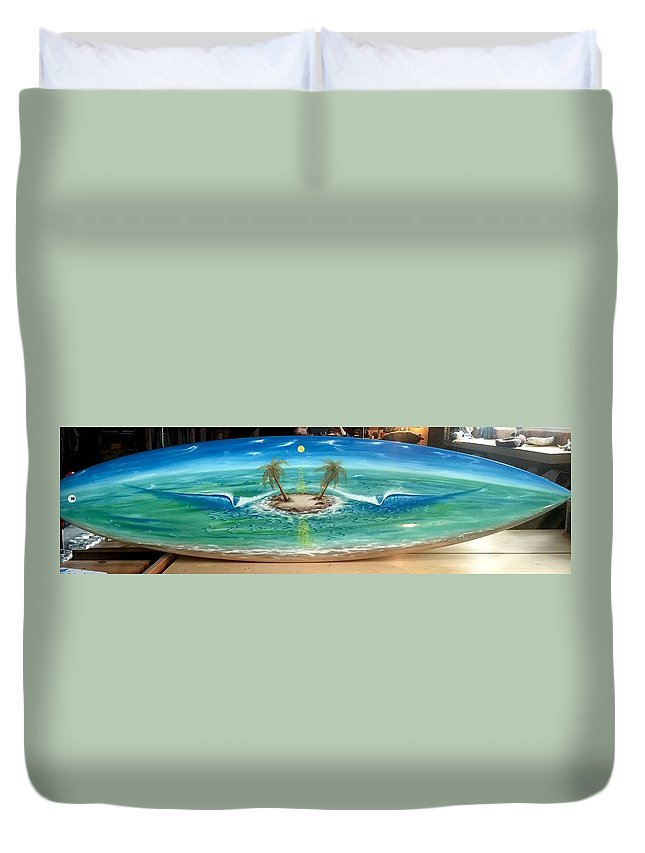 Island Dream Duvet Cover featuring the painting Island Dream by Paul Carter