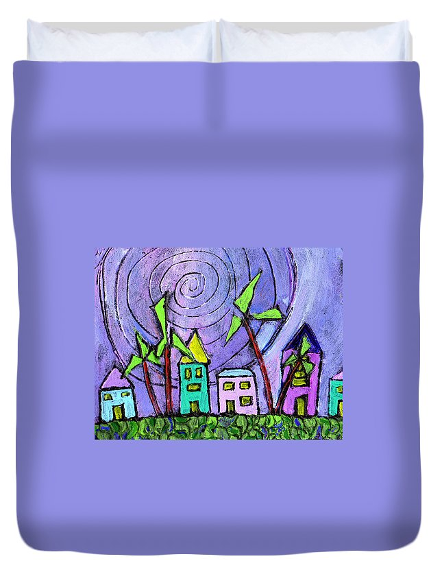 Island Duvet Cover featuring the painting Island Dreams by Wayne Potrafka