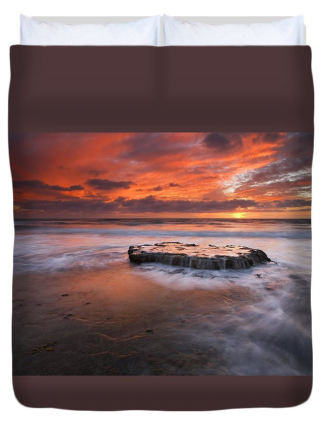 Island Duvet Cover featuring the photograph Island In The Storm by Mike Dawson