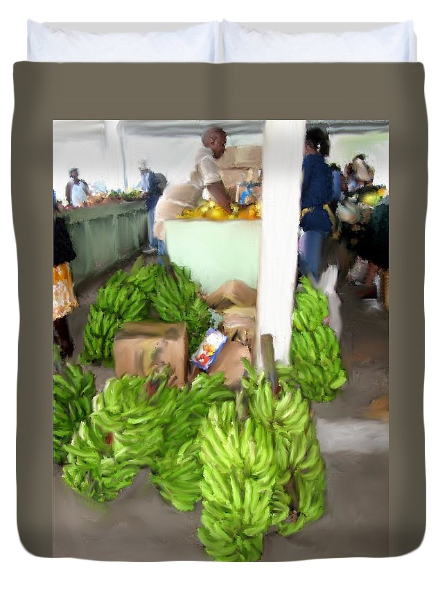 Duvet Cover featuring the photograph Island Market by Ian MacDonald