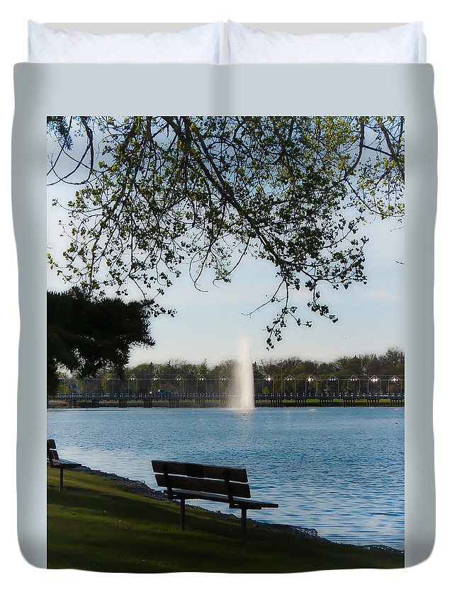 Island Park Duvet Cover featuring the photograph Island Park In Portage by Creations by Shaunna Lynn