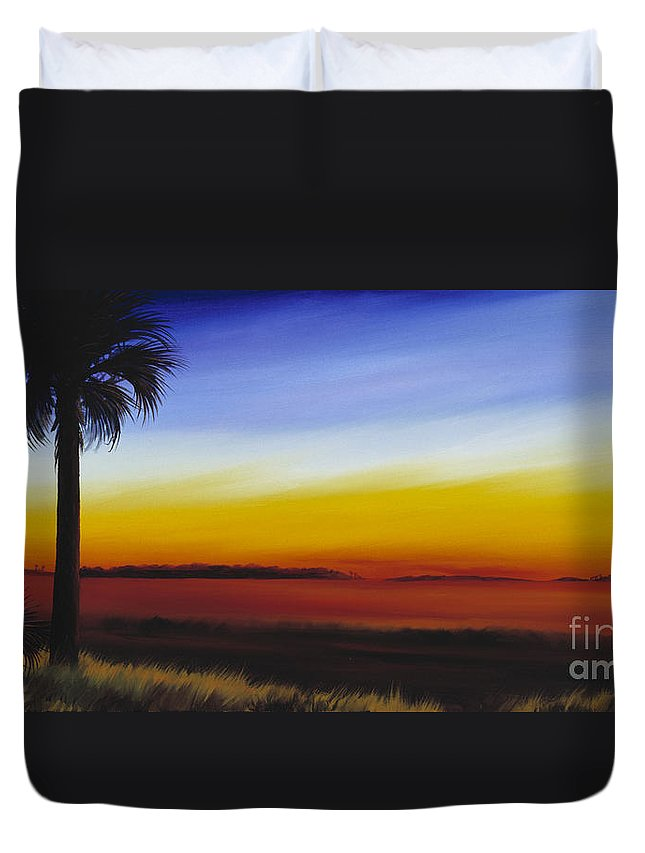 Palmetto Tree Duvet Cover featuring the painting Island River Palmetto by James Christopher Hill