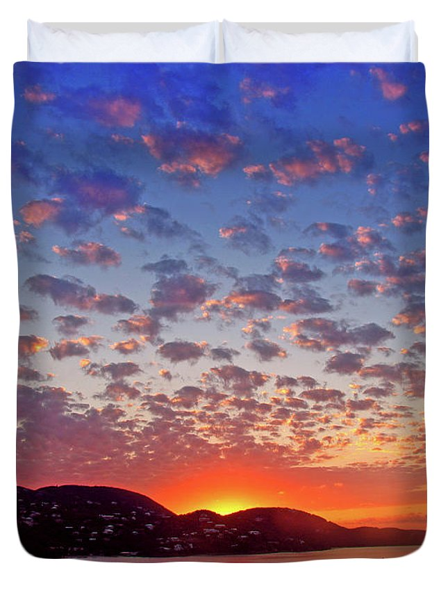 Island Duvet Cover featuring the photograph Island Sunrise by Scott Mahon