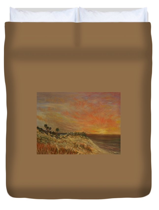 Sunset;beach;ocean;palm Trees Duvet Cover featuring the painting Island Sunset by Ben Kiger