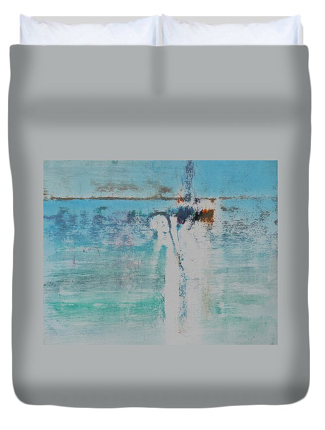 Maui Duvet Cover featuring the painting Island Vacation - Memory by Tom Brooks