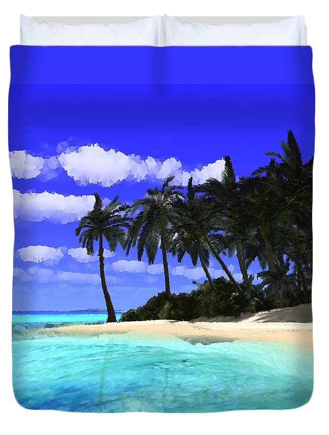 Tropical Island Duvet Cover featuring the digital art Island With Palm Trees by Judi Suni Hall