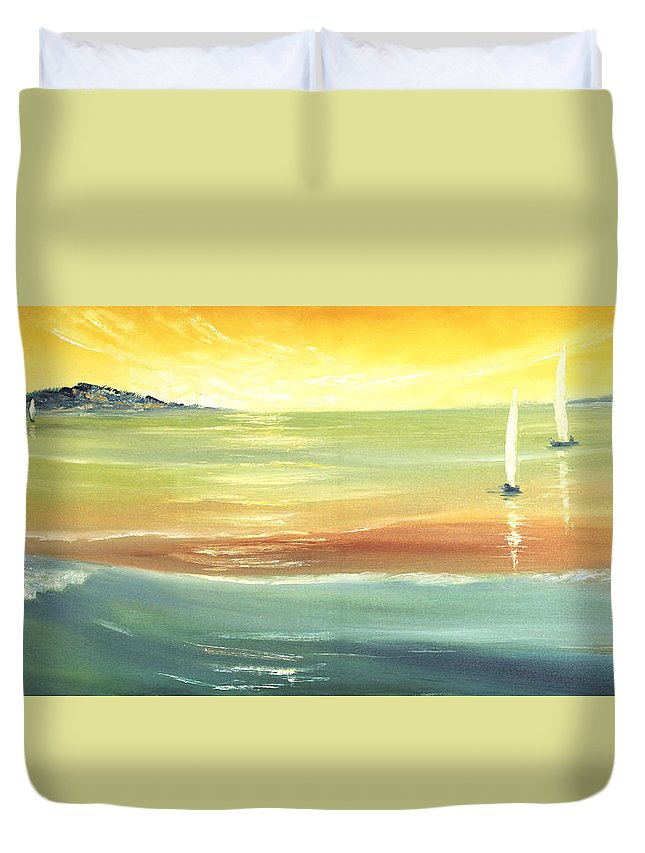 Seascape Duvet Cover featuring the painting Islands by Vera Persiyanova