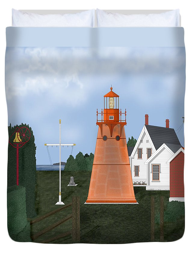 Lighthouse Duvet Cover featuring the painting Isle La Motte Vermont Lighthouse by Anne Norskog