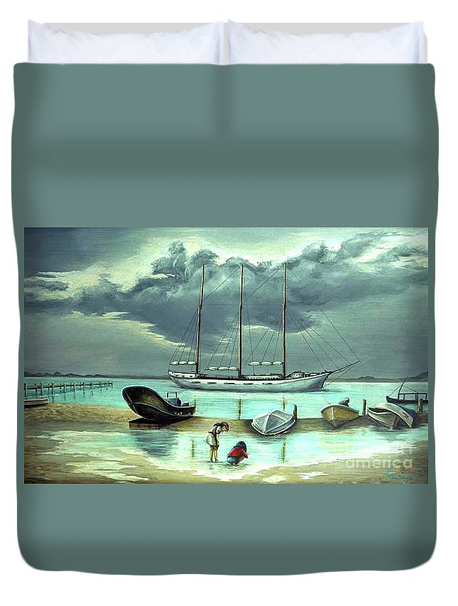 Fuqua Gallery-bev-artwork Duvet Cover featuring the painting Isle Of Mujeres by Beverly Fuqua