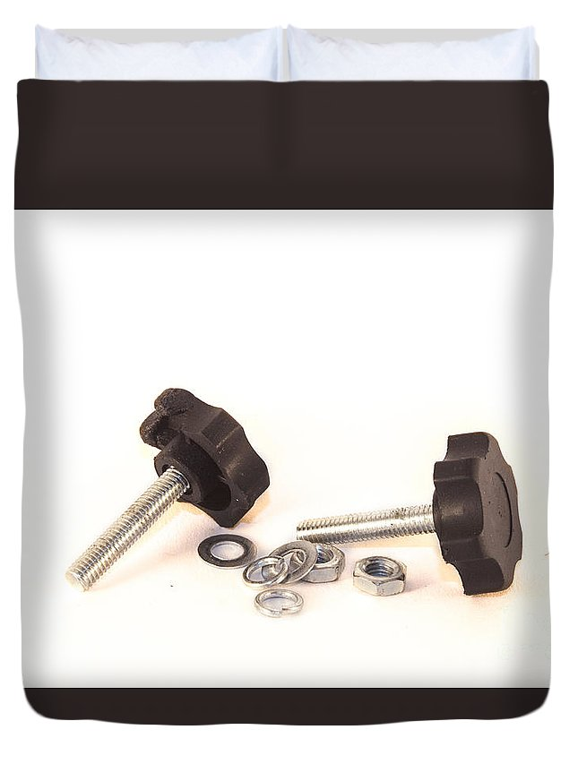 Bolts Duvet Cover featuring the photograph Isolated Bolts And Nuts by D R