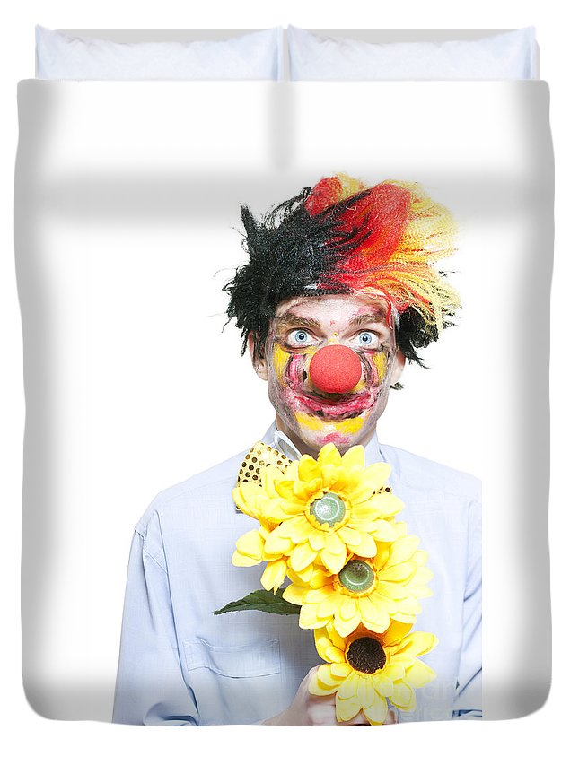 Amorous Duvet Cover featuring the photograph Isolated Clown In A Funny Summer Romance by Jorgo Photography - Wall Art Gallery