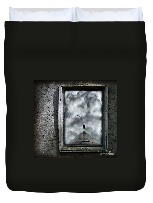 Dark Duvet Cover featuring the painting Isolation by Jacky Gerritsen