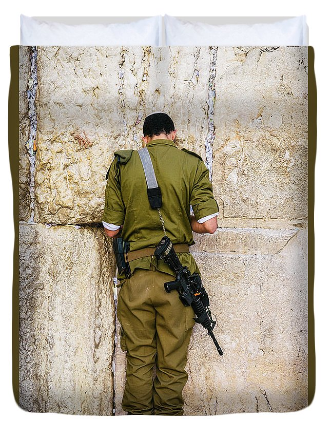 Army Duvet Cover featuring the photograph Israeli soldier praying on the Wailing Wall, Jerusalem by Alexandre Rotenberg