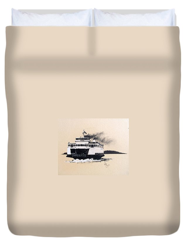 Ferry Duvet Cover featuring the pastel Issaquah by Gale Cochran-Smith