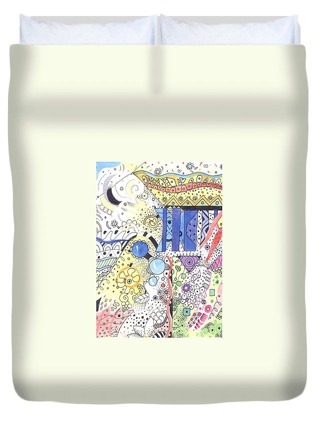 Atoms Duvet Cover featuring the mixed media It Circulates by Helena Tiainen