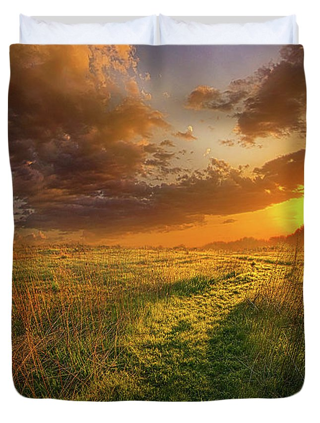Sun Duvet Cover featuring the photograph It Hitches The Soul To The Stars by Phil Koch