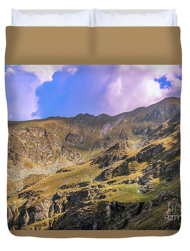 Mountains Duvet Cover featuring the photograph It Is Cold Up There by Claudia M Photography