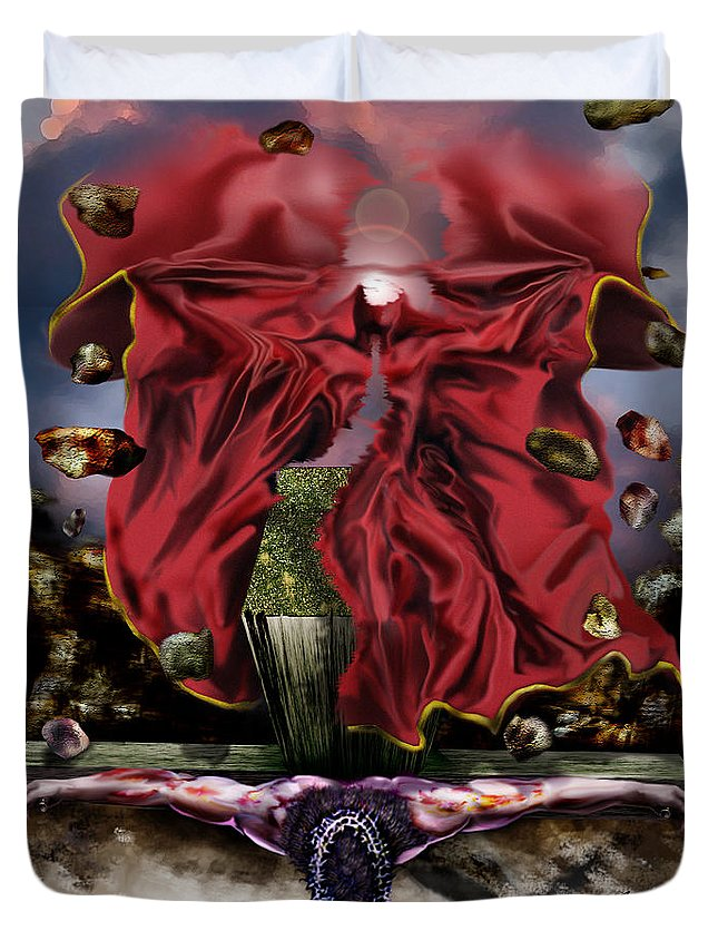 Jesus Rising On The Cross Duvet Cover featuring the painting It Is Finished by Reggie Duffie