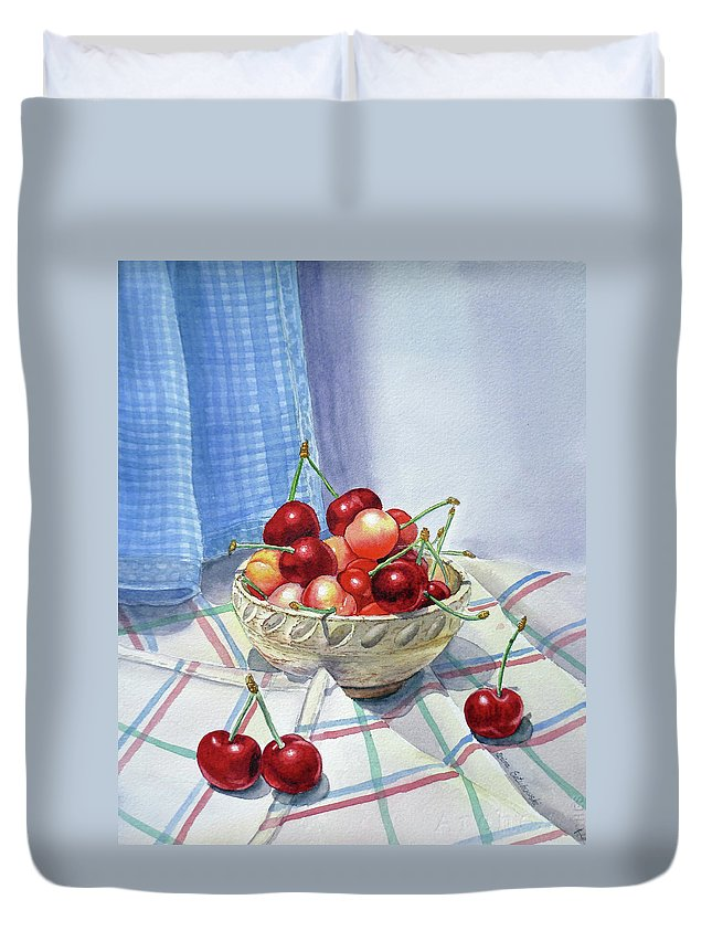 Cherries Duvet Cover featuring the painting It Is Raining Cherries by Irina Sztukowski