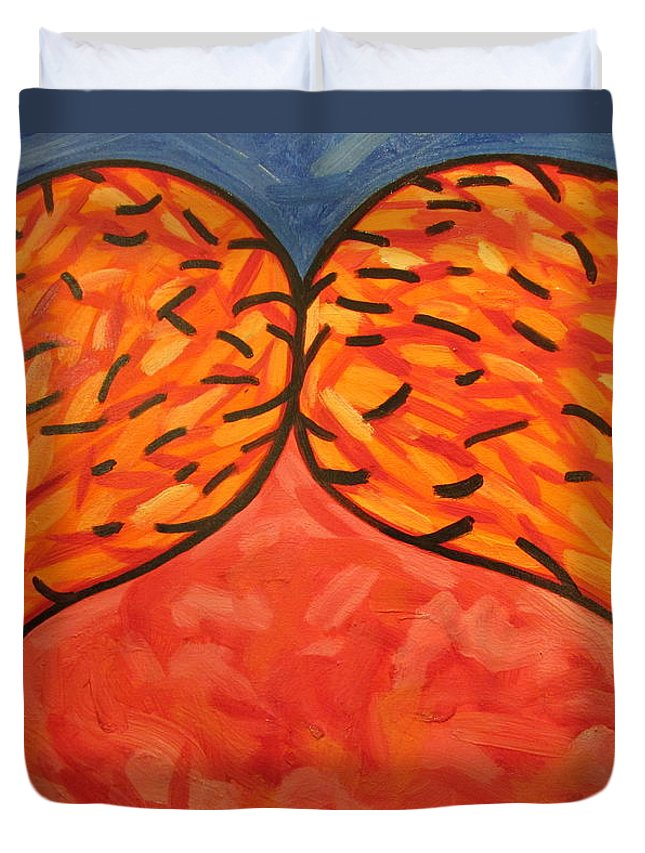 Abstract Duvet Cover featuring the painting It Takes Two by Steven Miller