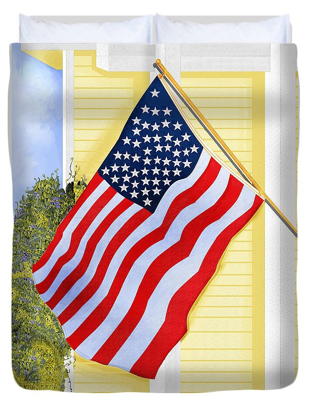 U.s. Flag Duvet Cover featuring the painting It Will Fly Until They All Come Home by Anne Norskog
