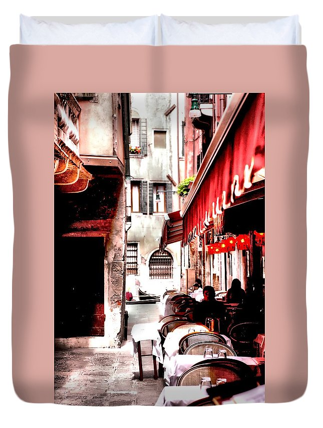 Bistro Duvet Cover featuring the photograph Italian Bistro - Venice by Greg Sharpe